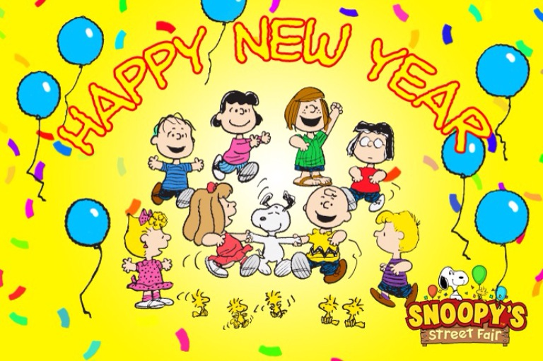 Group Of Peanuts Happy New Year Wallpaper